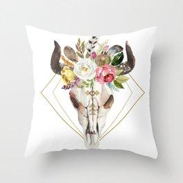 Boho flowers geometric bull skull Throw Pillow