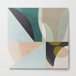 shapes geometric art mid century Metal Print