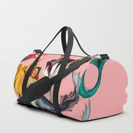 Mermaid Floral with moon Duffle Bag