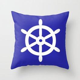 Ship Wheel (White & Navy Blue) Throw Pillow
