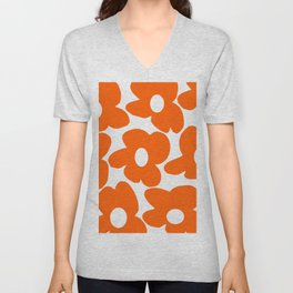 Orange Retro Flowers White Background #decor #society6 #buyart Unisex V-Neck