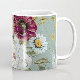 Colorful Wildflower Bouquet on Blue Coffee Mug