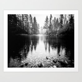 Forest Reflection Lake - Black and White  - Nature Photography Kunstdrucke
