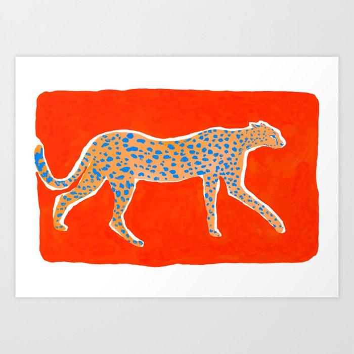 Leopard - Orange Kunstdrucke