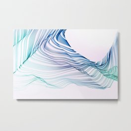 Etherial Wave - blue, mint and pale pink on white Metal Print