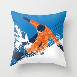 Snowboard Orange Throw Pillow
