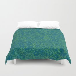 Clockwork Turquoise & Lime / Cogs and clockwork parts lineart pattern Duvet Cover