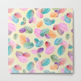 Easter eggs //Watercolor eggs and yellow wash background Metal Print