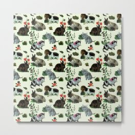 Garden Animals Rabbit Cat Dog Flowers Metal Print