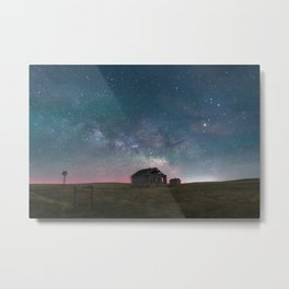 Lonely Barn Under a Starlit Sky Metal Print