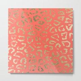 Modern coral faux gold cheetah animal print Metal Print