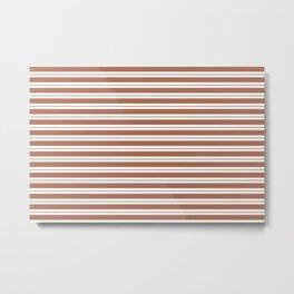 Sherwin Williams Cavern Clay Horizontal Line Pattern on White 1 Metal Print