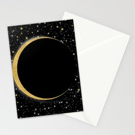 Black & Gold Magic Moon Stationery Cards