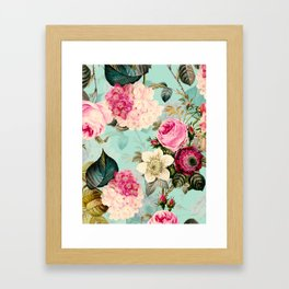 Vintage & Shabby Chic - Summer Teal Roses Flower Garden Framed Art Print