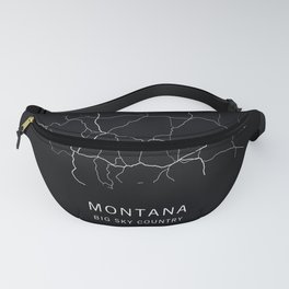 Montana State Road Map Fanny Pack