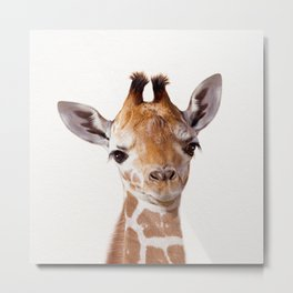Baby Giraffe, Baby Animal Art Prints By Synplus Metal Print