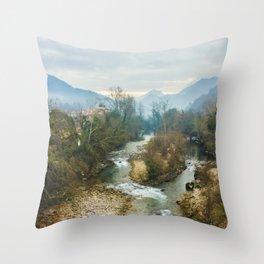 Mountain river Sella Throw Pillow