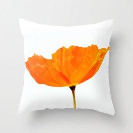 One And Only - Orange Poppy White Background #decor #society6 #buyart Throw Pillow