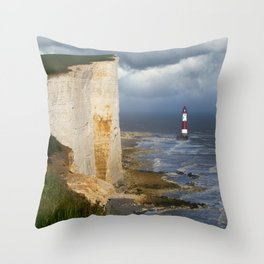 White and red lighthouse Throw Pillow