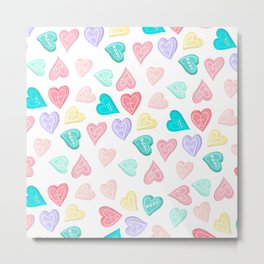 Modern pastel typography sweets heart love illustration pattern Metal Print