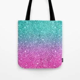 Pink and turquoise glitter ombre Tote Bag