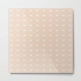 Minimal Butterfly Pattern - Neutral Pink Metal Print