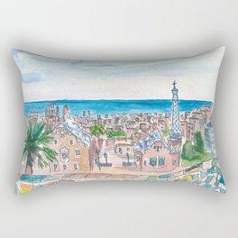 Barcelona Parc Güell Gaudi Dreams And Sea Rectangular Pillow