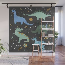 Dinosaurs in Space in Blue Wall Mural