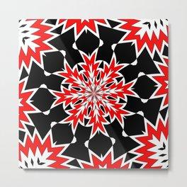 Bizarre Red Black and White Pattern 2 Metal Print