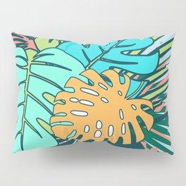 Tropical leaves blue Pillow Sham