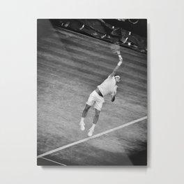 Roger Federer Black And White Wimbledon Tennis Metal Print