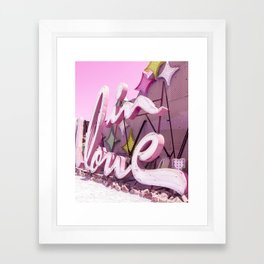 """Pink """"In Love"""" Sign at the Neon Museum in Las Vegas, Nevada Framed Art Print"""