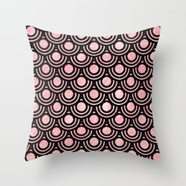 Mermaid Scales in Pink Gold Throw Pillow