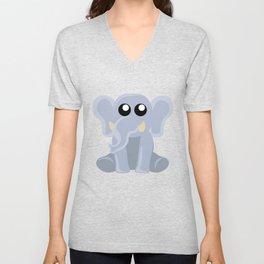 Cute Sitting Elephant Cartoon Unisex V-Neck