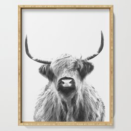 Black and White Highland Cow Portrait Serving Tray