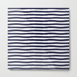 Navy Blue and White Horizontal Stripes Metal Print