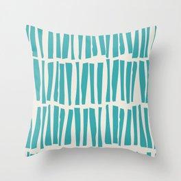 Aqua Teal Turquoise Solid Color Vertical Dash Stripe Line Pattern on Alabaster White - Aquarium SW 6767 Throw Pillow