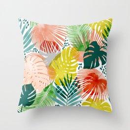 Tropical Garden #illustration #pattern Throw Pillow