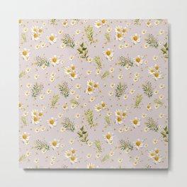 White Daisies Field Pattern Flowers Metal Print