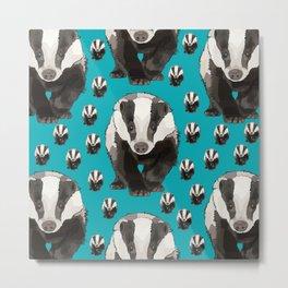 Badger Pattern (Teal) Metal Print
