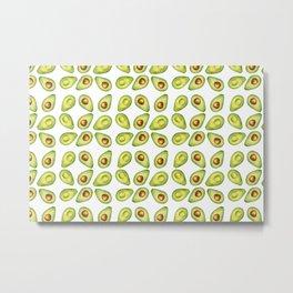 Watercolor Painting Green Avocado Pattern Metal Print