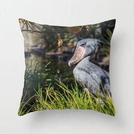 Shoebill in Grass Throw Pillow