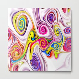 Waves and swirls, abstract, patterns piece no 11 Metal Print