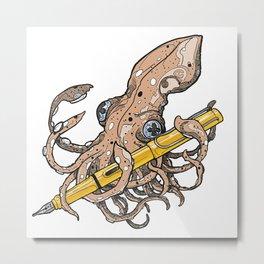 Octopus wth Lamy Safari   Fountain Pen Mascots #1 Metal Print