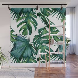 Classic Palm Leaves Tropical Jungle Green Wall Mural