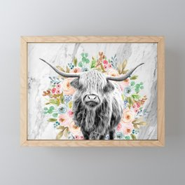 Highland Cow With Flowers on Marble Black and White Framed Mini Art Print