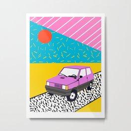 Amped - throwback 80s memphis vintage cars sunset socal california beach life Metal Print