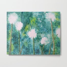 Abstract Dandelions WISH Metal Print
