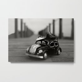 Little Cars, Big Planet (BW) Metal Print