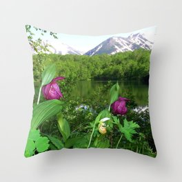 Wild Orchid Lady Slippers Snow-capped Mountain Landscape Throw Pillow